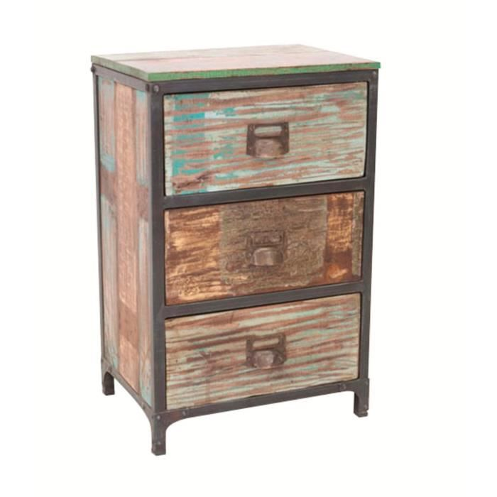 commode en bois massif recycl et fer avec 3 ti achat vente commode semainier commode en. Black Bedroom Furniture Sets. Home Design Ideas
