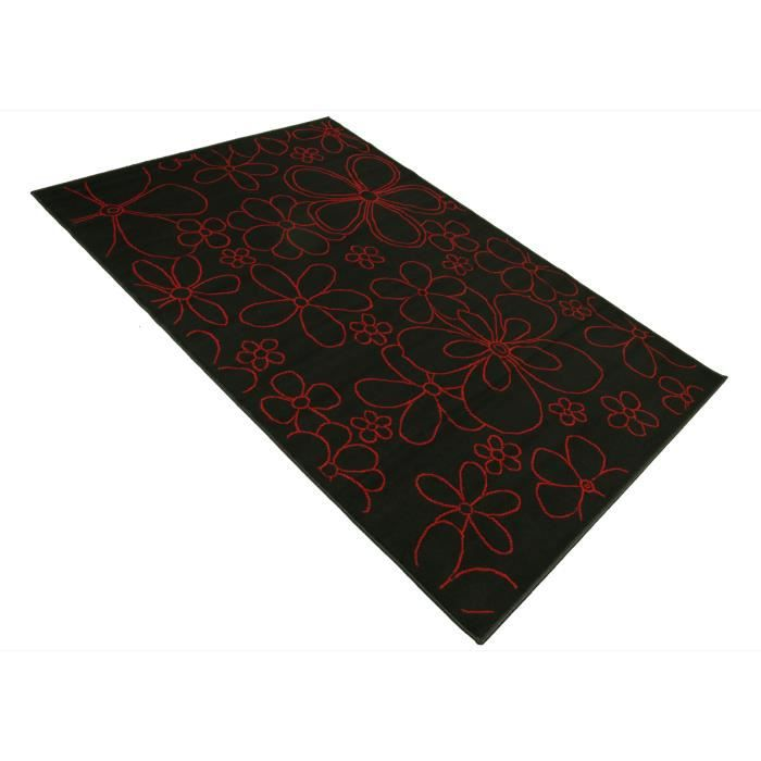 tapis salon fleurs rouge noir universol achat vente tapis cdiscount. Black Bedroom Furniture Sets. Home Design Ideas