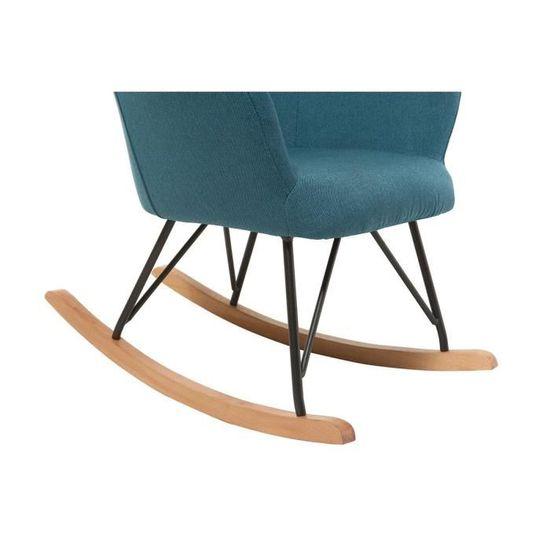 Miliboo Rocking Chair Design en Tissu Bleu Canard Shana