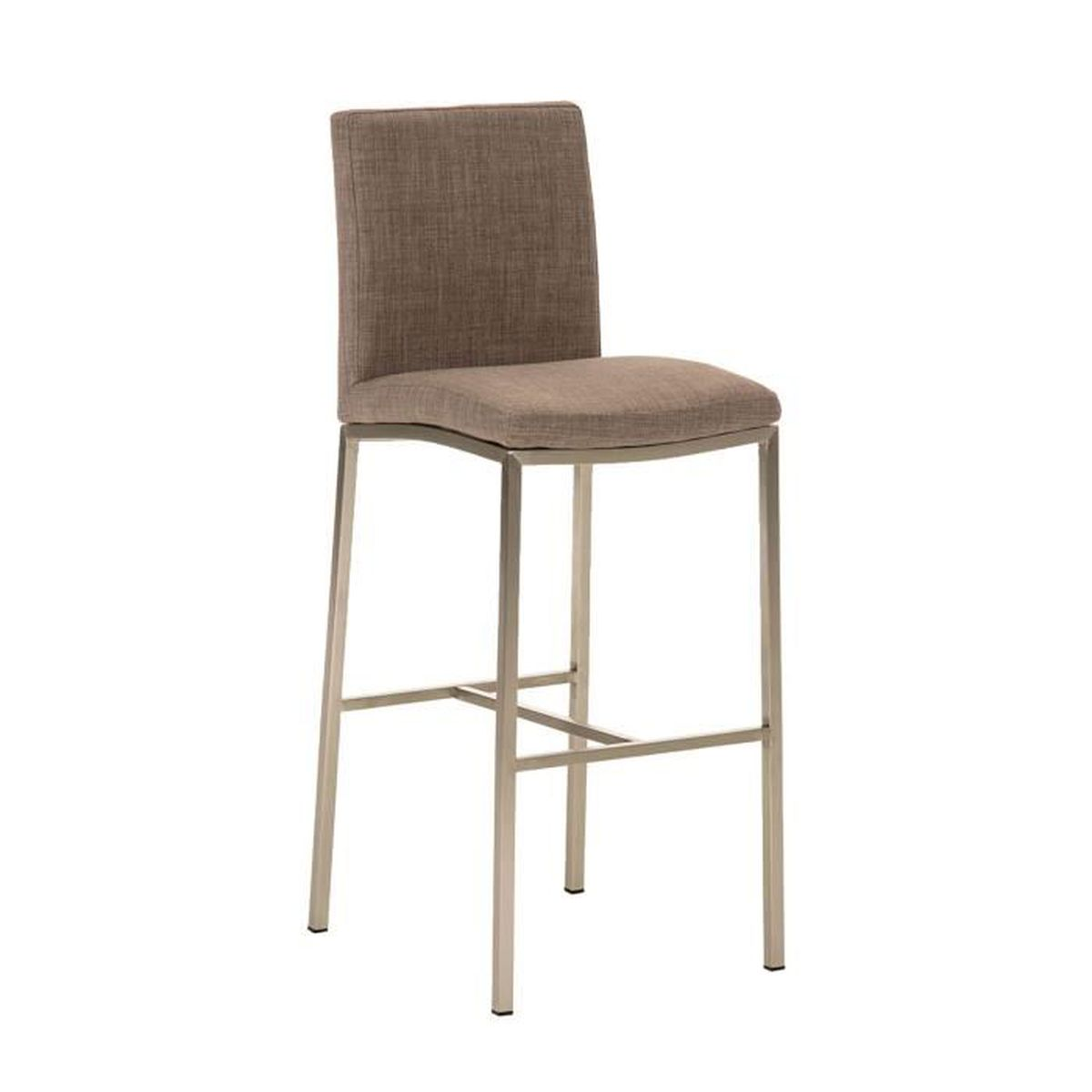 tabouret de bar en acier inoxydable avec si ge en tissu gris 110 x 40 x 49 cm achat vente. Black Bedroom Furniture Sets. Home Design Ideas