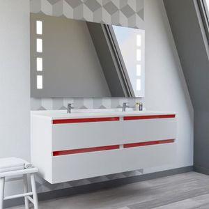 Meuble De Salle De Bain Double Vasque Avec Miroir 120cm Achat Vente Pas Cher