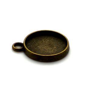 PENDENTIF VENDU SEUL 5 x Pendentif Rond pour Cabochon 12mm bronze antiq