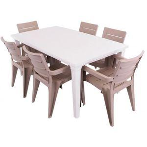 JUSThome Salon de jardin Ibiza Ensemble 6 Chaises + Table ...