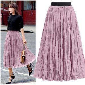 JUPE Jupes longues femme taille élastique plissées jupe