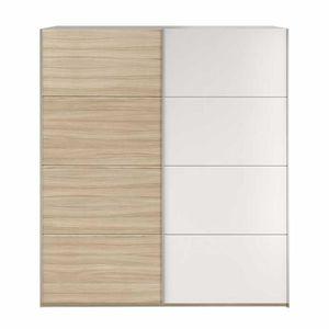 ARMOIRE DE CHAMBRE Armoire 2 portes coulissantes Blanc/Chêne - PISCO