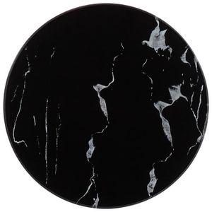TABLE À MANGER SEULE Dessus de table Noir Ø30 cm Marbre