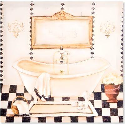 Cadre toile tableau Baignoire - Salle de bain - vintage rétro - 40 x 40 cm  - A