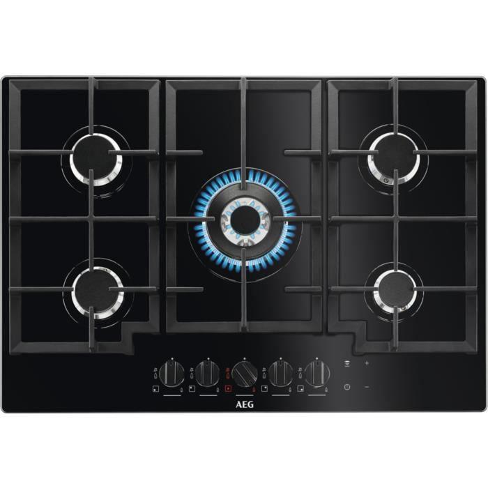 AEG HKB75540NB, Intégré, Cuisinière à gaz, Verre, Noir, Fonte, 1000 W