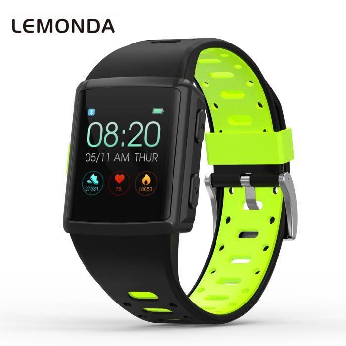 GPS Montre Intelligente Bracelet de Homme Femme 1,3 Pouce HD IPS Écran Six Watchfaces Suivi De L'activité En Temps Réel - Vert-Noir