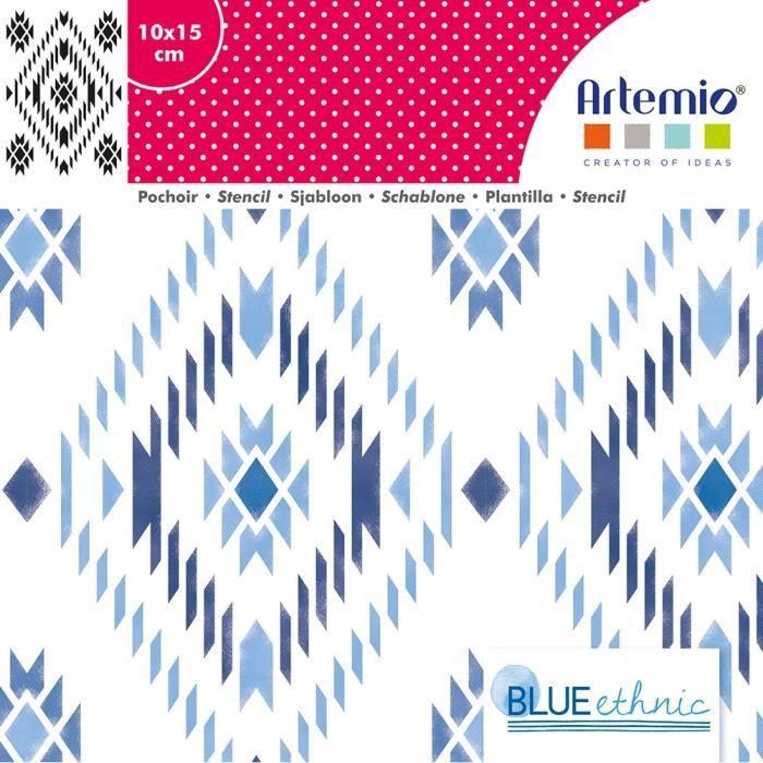 Pochoir 10x15 cm Blue Ethnic Navajo - Artémio {couleur}