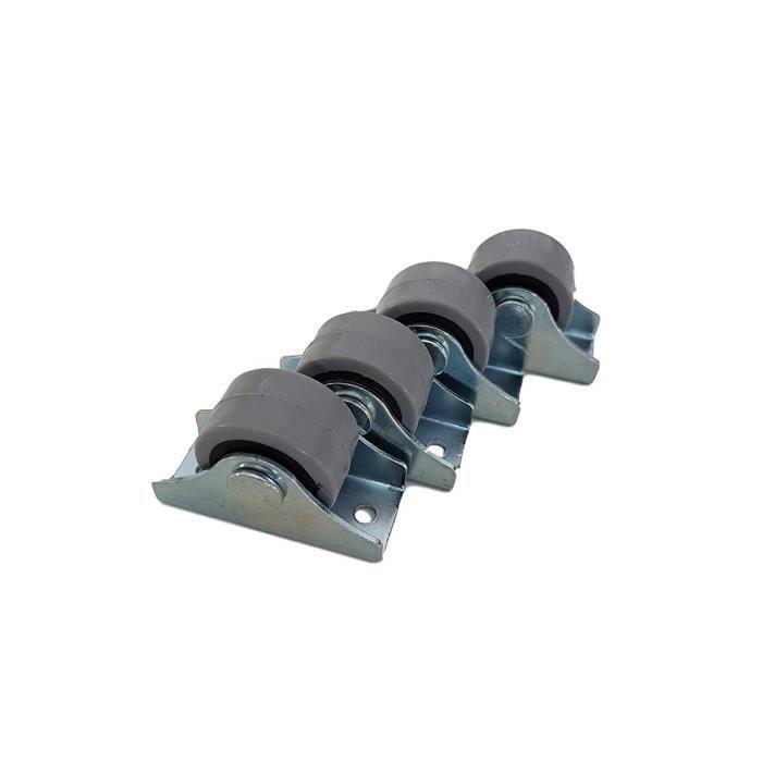 Lot de mini-roulettes de 25 mm en caoutchouc et plastique fixées dans un écrin pivotant en métal - Pour meubles, appareils électro-m