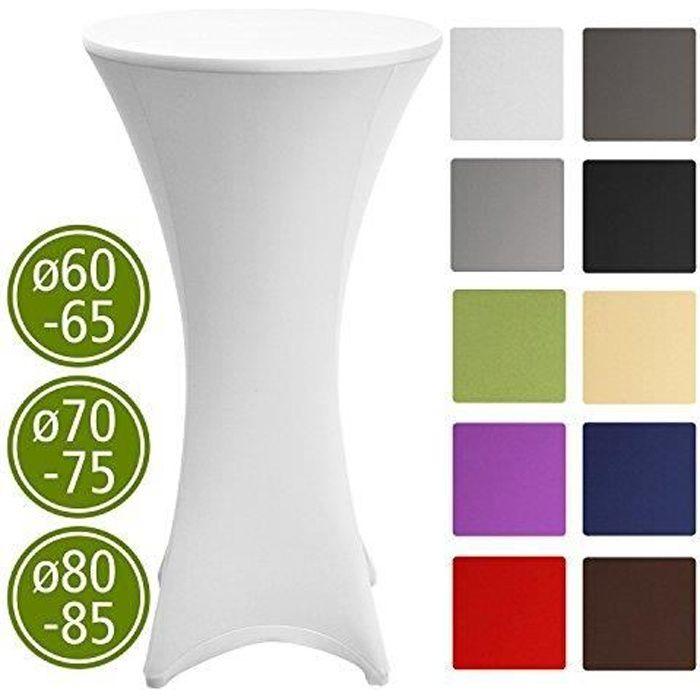 Beautissu Housse de table bistrot 60-65cm Blanc - Mange debout - Deco Cocktail - Stretch spandex - Stella