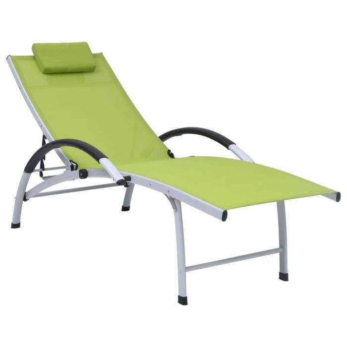 VIE2312Super Chaise longue de jardin Bains de soleil, Fauteuil de Jardin, Transat de jardin Haut de gamme - Aluminium textilène Vert