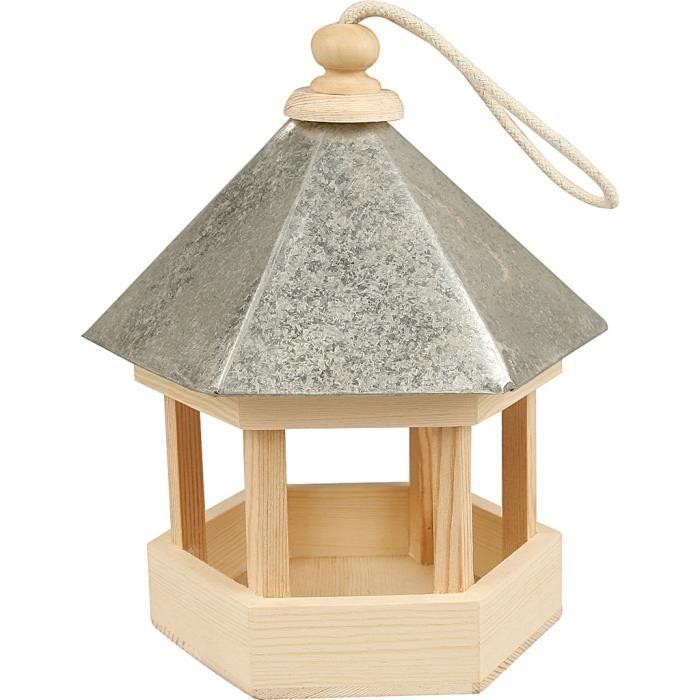 Mangeoire traditionnel pour oiseaux, hexagonale et solide avec toit en zinc et système d'accrochage. réf 577300