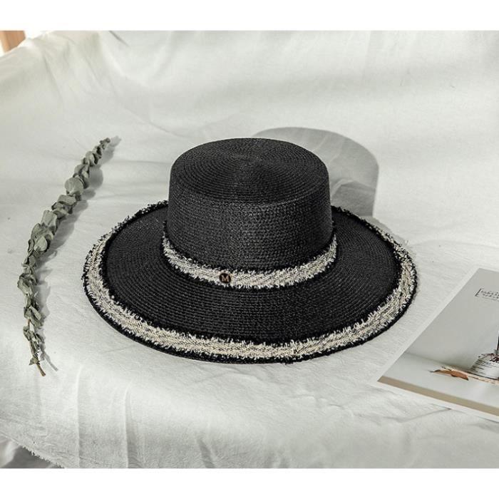 Modèle littéraire - chapeau de paille noir à large bord et à dentelle pour protéger du soleil