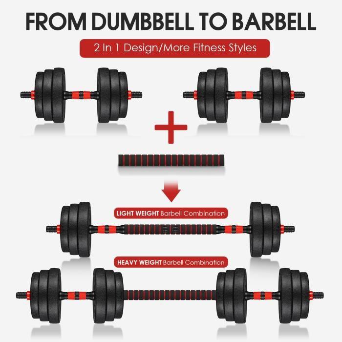 BESPORTBLE Haltere reglable 20kg - poids musculation - exercice haltere