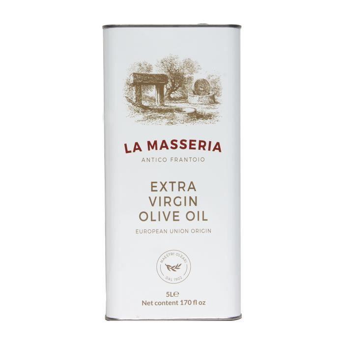 huile d'olive extra vierge La Masseria Mediterranean Selection. Bidon de 5 litres d'huile d'olive extra vierge