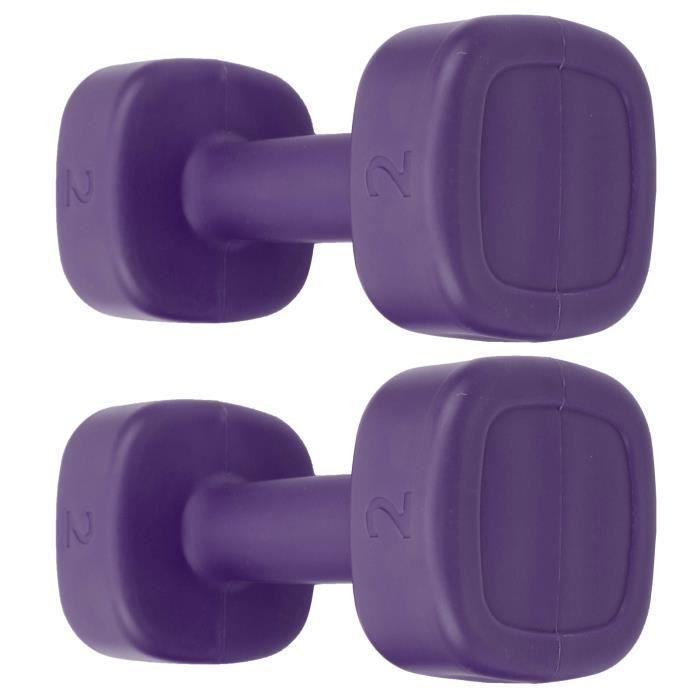 Fafeicy Haltère d'aérobic 2pcs Haltère 4lb Haltérophilie Fitness Équipement de Perte de Poids de Sport Yoga Musculation(Violet