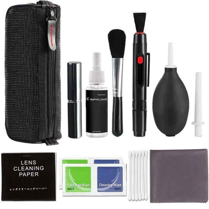 Accessoires Photo,Kit de nettoyage professionnel d'objectif d'appareil photo DSLR, bouteille de pulvérisation, brosse - Type black