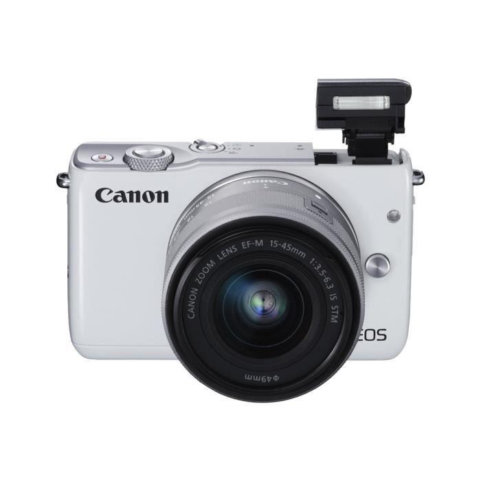 Canon EOS M10 Appareil photo numérique sans miroir 18.0 MP APS-C 1080p - 30 pi-s corps uniquement Wi-Fi, NFC blanc