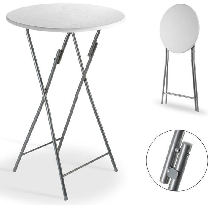 Table haute pliable blanc Ø 60cm métal décor en bois plateau table MDF table de jardin bar bistrot balcon anniversaires