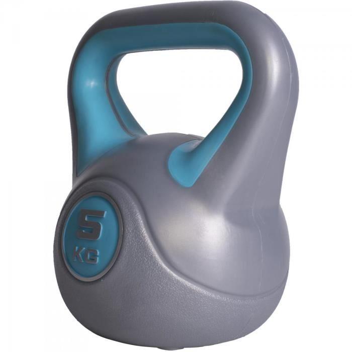 Gorilla Sports - Poids Kettlebell vinyle plastique de 2kg à 20kg - 5 KG Gris/turquoise