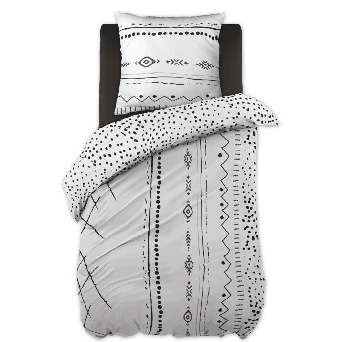 CDaffaires Parure de lit (housse de couette + 1 taie d'oreiller) 140x200 ikat Blanc