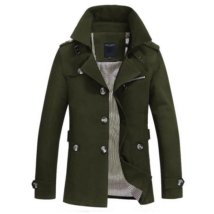 (vert)Trench-Coat pour hommes veste manteau Long hommes coupe Slim vêtements de marque coupe-vent Business