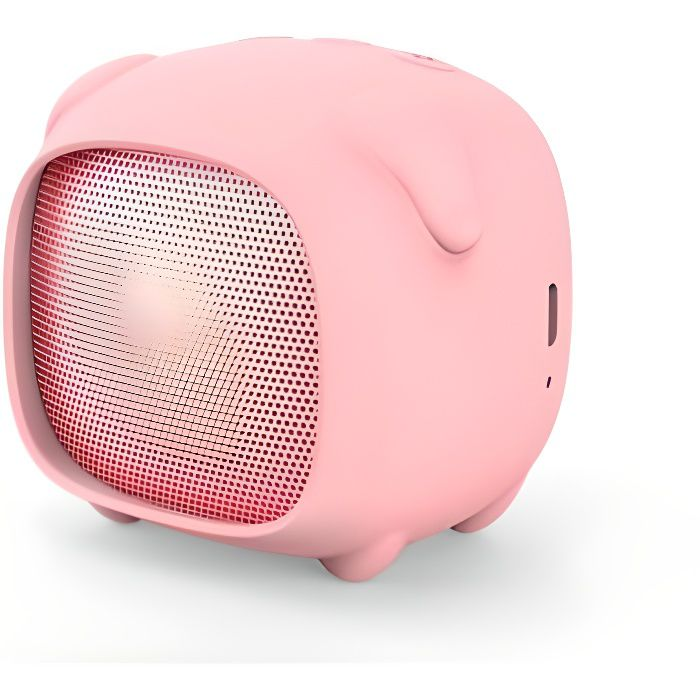 Pack enceinte Bluetooth fille 2 coque interchangeable lapin/cochon Rose