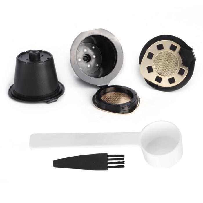 BOV 3pcs tasse de filtre à capsule de café en acier inoxydable avec accessoires de brosse à cuillère pour NESPRESSO