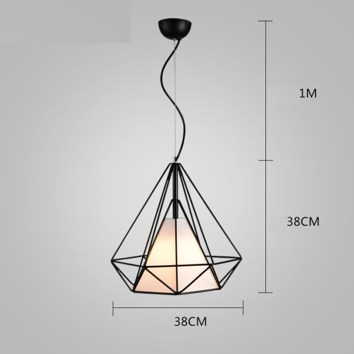 Retro creative lustre suspension m tal 38cm forme de for Lustre en metal noir