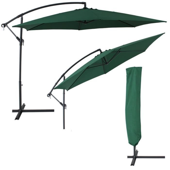 parasol d port excentr 3 5m vert avec manivelle achat vente parasol parasol d port. Black Bedroom Furniture Sets. Home Design Ideas