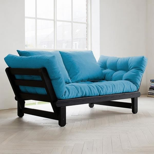 convertible beat noir futon horiz bleu achat vente canap sofa divan les soldes sur. Black Bedroom Furniture Sets. Home Design Ideas