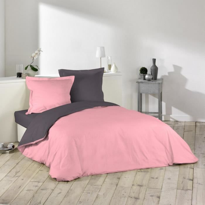 housse de couette bicolore 220x240 cm rose drag e gris achat vente housse de couette. Black Bedroom Furniture Sets. Home Design Ideas