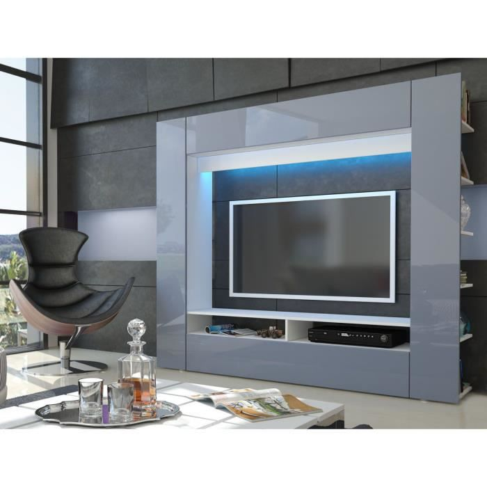 Quest meuble tv mural id es de d coration et de mobilier for Meuble mural gris