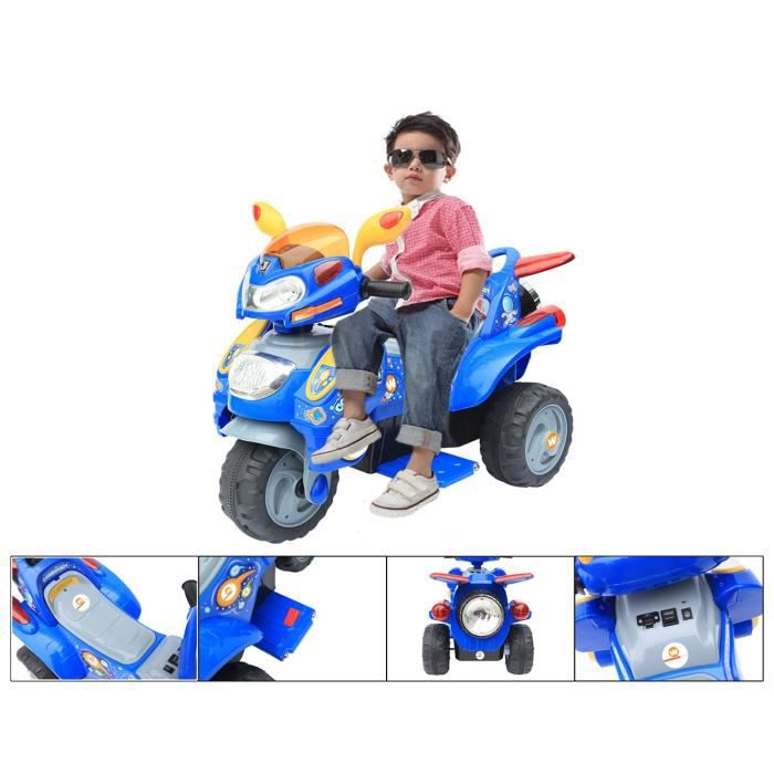 moto lectrique 6v pour enfant moto bleue 3 roues achat. Black Bedroom Furniture Sets. Home Design Ideas