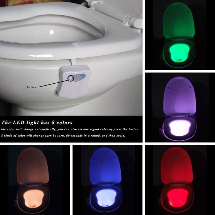 ebuy lumi re led toilette salle de bain capteur lampe de si ge 8 couleur achat vente. Black Bedroom Furniture Sets. Home Design Ideas