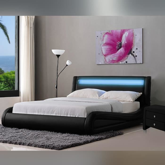 lit design jenna noir 140 cm lit moderne avec achat vente structure de lit cdiscount. Black Bedroom Furniture Sets. Home Design Ideas