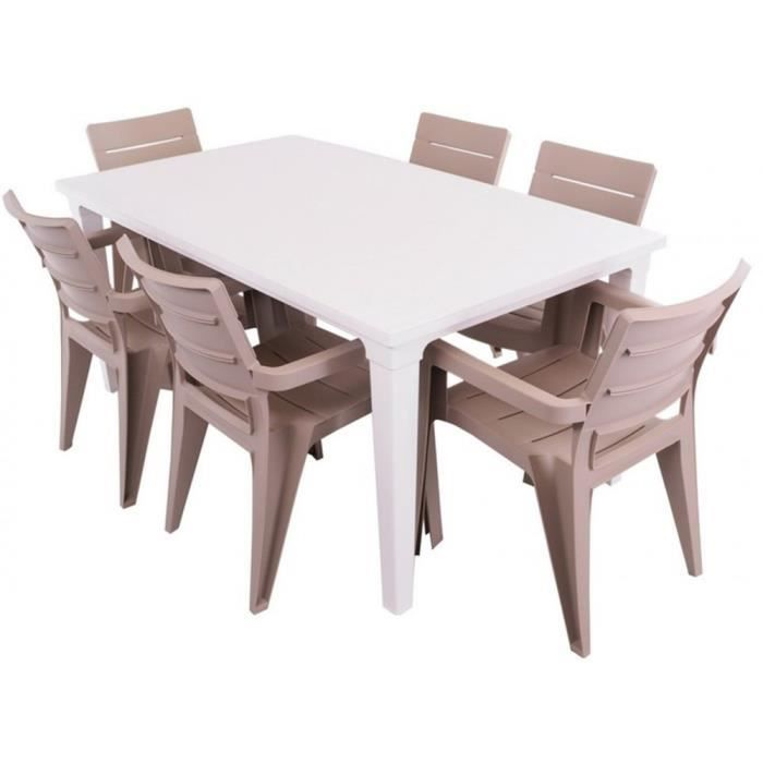 JUSThome Salon de jardin Ibiza Ensemble 6 Chaises + Table Taupe ...