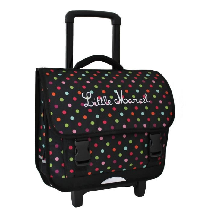 cartable roulettes scolaire little marcel pois noir. Black Bedroom Furniture Sets. Home Design Ideas