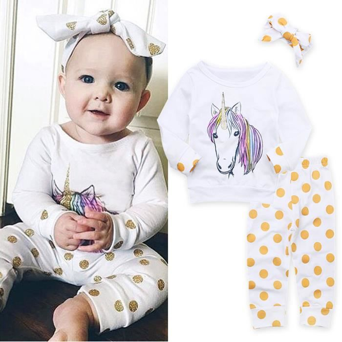 0 24 mois fille b b pyjamas licorne imprim pr nouveau n 3 pcs ensemble de v tement t shirt. Black Bedroom Furniture Sets. Home Design Ideas