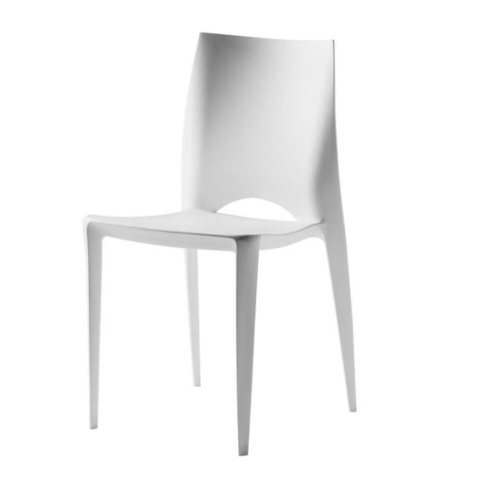 Chaise design blanche carl lot de 4 achat vente chaise polypropylene - Chaise resine blanche ...
