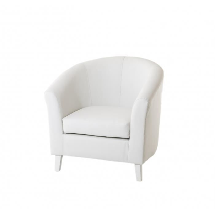 Fauteuil cabriolet blanc rev tement synth tique 76 x 71 x 76 cm achat ve - Fauteuil cabriolet blanc ...