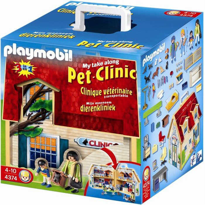 playmobil clinique v t rinaire transportable achat. Black Bedroom Furniture Sets. Home Design Ideas