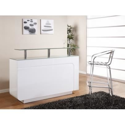 Meuble de bar brady mdf laqu blanc verre t achat for Meuble bar comptoir conforama