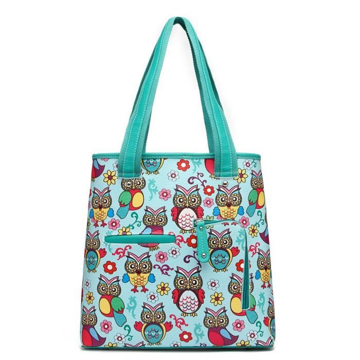 Hibou coloré Imprimer All Over Top Handle Sac fourre-tout ZQX5R