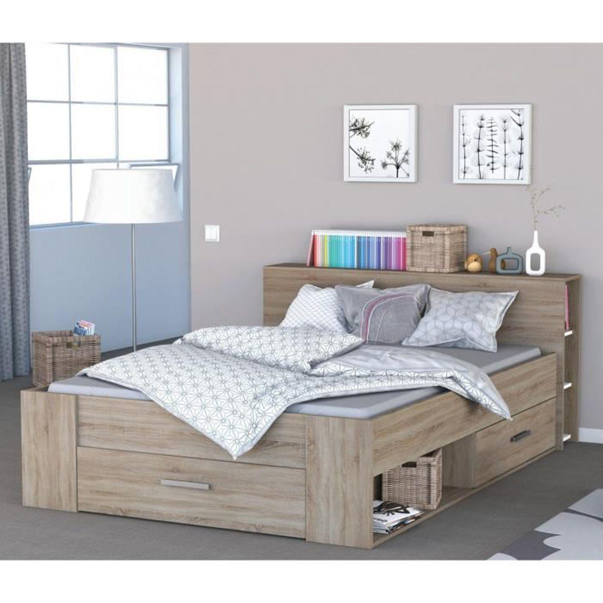 Lit Poutre Bois Massif lit en bois avec tiroir imitation chêne brossé 160x200