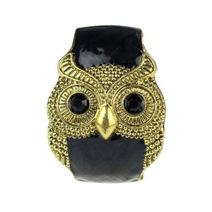 BRACELET - GOURMETTE Elégant Retro Glaze Large Owl Plaquage Épais Brace