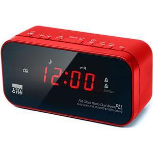 Radio réveil NEW ONE CR 120 R Radio réveil double alarme Rouge