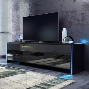 MEUBLE TV Meuble TV - SKYLIGHT - 139 cm - noir mat / noir br